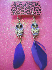 Betsey Johnson Purple Feather Owl Dangle Earrings