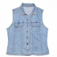 Vintage Sleeveless Denim Shirt   Womens L   Blouse Jeans Retro Vest Cowboy