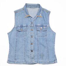Vintage Sleeveless Denim Shirt   Womens L   Western Jeans Retro Vest Cowboy
