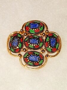 VINTAGE HUGE SARAH COVENTRY BROOCH RED, GREEN, BLUE, GOLD STATEMENT PIECE