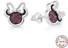 NEW Disney Minnie Mouse Silver 925 Crystal Stud Earrings Perfect Gift