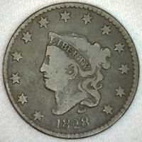 1828 Coronet Head US One Cent Penny Coin 1c Large Cent Copper Coin VG Very Good