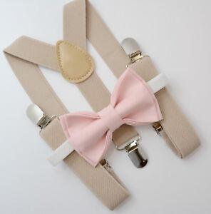 Kids Boys Mens Tan Khaki Suspenders & Petal Blush Pink Bow Tie Baby - ADULT SET