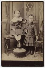 CABINET CARD TOUGH LITTLE BOYS IN DRESSES. SCRANTON, PA.