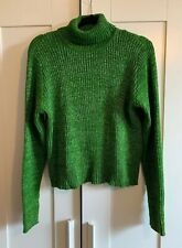 Green & Silver Turtle Neck 'Marc's' 1990's Jumper - L - Excellent Condition!