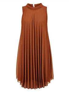 Marken Kleid im Plissee cognac Gr. 46 1020321208