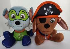 Paw Patrol Bean Bag Plush Figure Lot Of 2 Pirate Zuma and Mighty Pup Rocky
