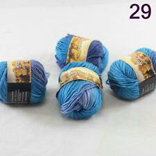 4balls Chunky Colorful Hand Knitting Scores Wool Yarn Navy Blue Turquoise
