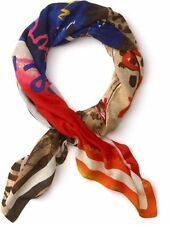 Juicy Couture Scarf Peace Love Sandy Feet Raw Silk NEW