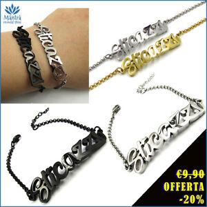 Bracciale donna in acciaio inox a maglia scritta sticazzi con braccialetto da