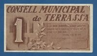 CONSELL MUNICIPAL DE TERRASSA -- 1 PESETA ( 1937 ) -- MBC+ -- 1ª EMISION .