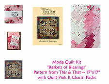 RARE Moda Quilt Kit --QUILT PINK II Baskets of Blessings w/ Backing - Free Ship