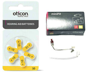 Minifit Hearing Aid Speaker Unit 2R Side Receiver Wire 85db Oticon+ Batteries 10
