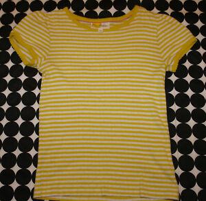 Girl's Mini Boden Short Sleeve Pointelle Top Daffodil Yellow Ivory Stripes 9-10
