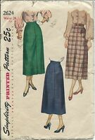 S 2624 sewing pattern 40's classic SKIRT simulated fly vintage 1948 sew waist 26