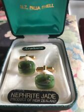 Vintage Koha Nephrite Jade Cuff Links New Zealand 1979 New In Case (B1)