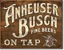 Anheuser Busch Budweiser Bud Fine Beer Retro Vintage Distressed Metal Tin Sign