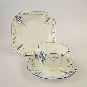 Shelley Vintage Blue Iris Trio Pat No 11561 Cup Saucer Plate Queen Anne Shape #2