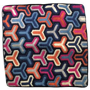 "Jonathan Adler Pillow Cover Multicolor Hazard Crewel Embroidered Bargello 20"""