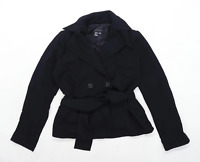 Zara Womens Size M Black Belted Waist Jacket