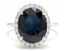 7.50Ct Natural Blue Sapphire & Diamond 14K White Solid Gold Ring