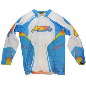 JT RACING HYPERLITE MOTOCROSS MX JERSEY SHIRT CYAN FLO ORANGE WHITE evo classic