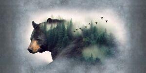 "Hoffman Call Of The Wild Minky Cuddle Black Bear Animal Quilt Panel 29"" x 59"""