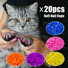 20Pcs Pet Cat Soft Silicone Paw Claw Control Nail Caps Cat Kitten Nail Covers Us