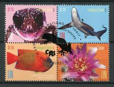 United Nations UN New York 2017 CTO Endangered Species 4v Block Sharks Stamps