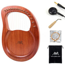 AKLOT Lyre Harp 16 String Solid Mahogany with Pickup Tuning Harmer Carry Bags