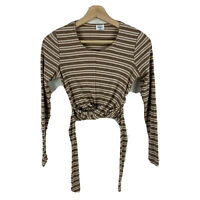 Sheike Crop Top Womens Size 6 Brown Striped Long Sleeve Tie Round Neck Fitted