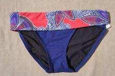 Captiva Bikini Bottom Sz S Blue Multi Fold Over Swim Pant Swimwear  33LB4045