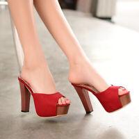 Womens Summer Block High Heel Open Toes Slides Sandals Slip On Platform Shoes Sz