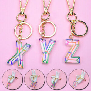 1PC Transparent Acrylic Keychain 26 English Letter Initial Keyring Pendant