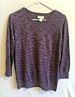 Women's Ann Taylor Loft Purple Heathered Sweater Size Large Crew Neck 3/4 Sleeve