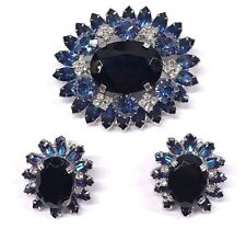 Vintage Continental Jewelry Blue Clear Rhinestone Layered Brooch Earrings Set