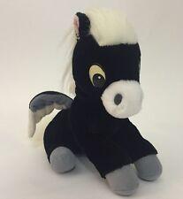 """Disneyland Walt Disney World Fantasia Pegasus Plush Black White Horse Wings 9"""""""