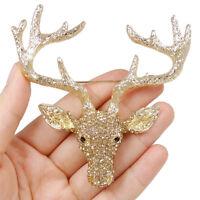 Deer Animal Pin Brooch Austrian Crystal Christmas Gift Topaz Brown Gold GP Women