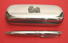 Shih Tzu Pewter Motif On Chrome Pen Box + Ball Point Pen Pet Vet Mother Gift NEW