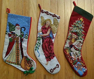 CHOOSE Vintage Christmas Stocking Wool Needlepoint Victorian Angel Santa Bear