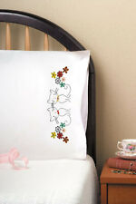 Embroidery Project ~ Design Works Retro Cats Floral Pillowcase Pair #T232136