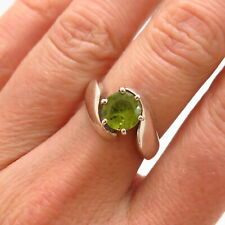 925 Sterling Silver Real Peridot Gem Bypass Ring Size 6 1/4