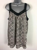 BNWT WOMENS NEW LOOK BEIGE BLACK MICO TILE EMBROIDERED FLARED SUMMER TOP UK 14