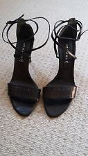 Worn once, Next Black leather strappy sandals size 5 with stud detail