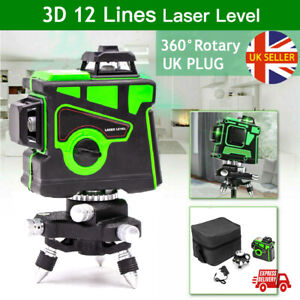 360° Rotary 3D Green Laser Level 12 Lines Self Leveling Cross Measure Tool