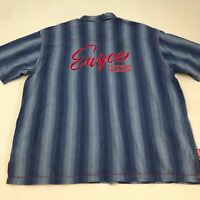 Enyce Button Up Shirt Mens 3XL XXXL Short Sleeve Blue Striped Casual 100% Cotton