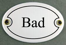 """Emaille Türschild """"Bad"""" weiß oval 7x10 cm Schild Emailleschild Metallschild"""