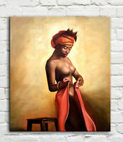 Modern nude art african sexy woman oil painting Canvas art Painitng Poster Print