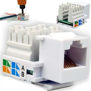 Network LAN Cat5e RJ45 Ethernet Wall End Plug Module Adapter Keystone Jack