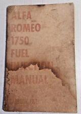 Alfa Romeo 1750 Instruction & Maintenance Manual Fuel Injection Models Usa Orig